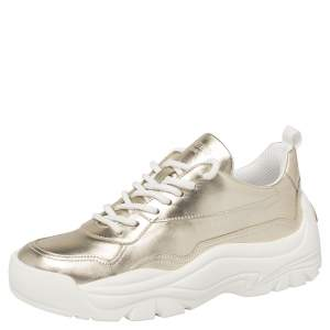 Valentino Platino/White Leather Chunky Sneakers Size 38