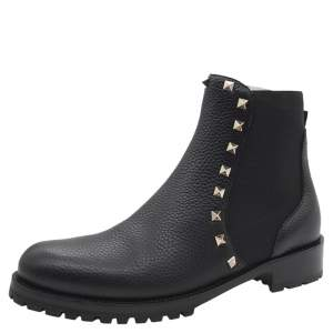 Valentino Black Fabric and Leather Rockstud Ankle Boots Size 38.5