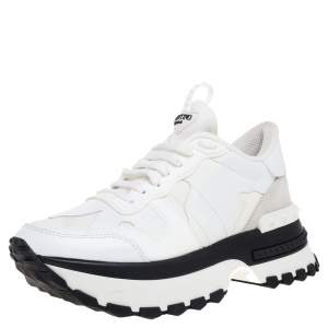 Valentino White/Black Leather and Canvas Platform Sneakers Size 40.5