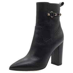 Valentino Black Leather Rockstud Block Heel Pointed Toe Ankle Boots Size 39