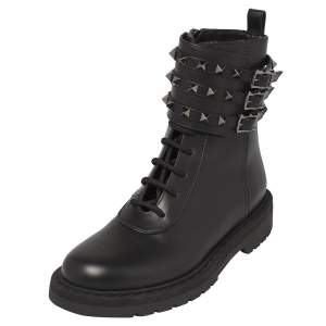 Valentino Black Leather Rockstud Combat Boots Size 37