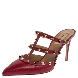 Valentino Burgundy Leather Rockstud Pointed Toe Mule Sandals Size 38.5