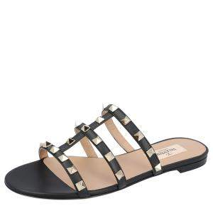 Valentino Black New Rockstud Slide Sandals Size 36
