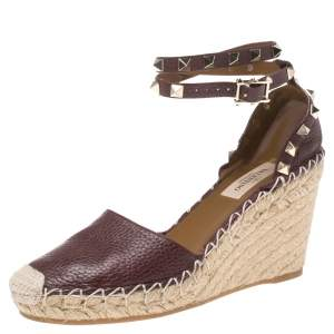 Valentino Maroon Leather Rockstud Espadrille Wedge Ankle Wrap Sandals Size 35
