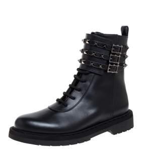 Valentino Black Leather Rockstud Combat Boots Size 37.5