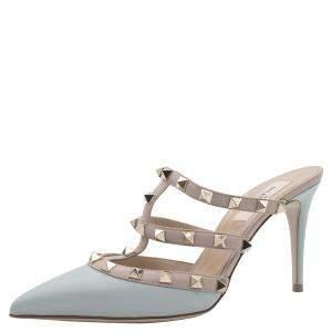 Valentino Pastel Grey/Beige Patent Leather Rockstud Cage Sandals Size 38