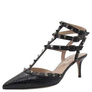 Valentino Black Snakeskin Leather Rockstud Embellished Pointed Toe Sandals Size 37