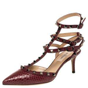 Valentino Cerise Python and Leather Ankle Strap Pointed Toe Sandals Size 37.5
