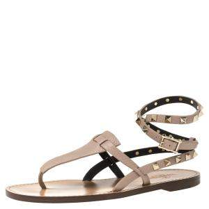 Valentino Beige Leather Rockstud Embellished Ankle Wrap Flat Thong Sandals Size 38