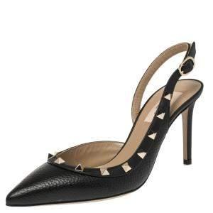 Valentino Black Leather Rockstud Pointed Toe Slingback Sandals Size 37.5