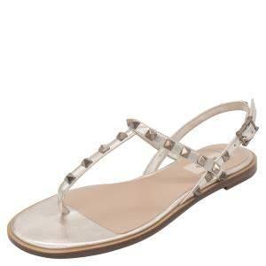 Valentino Metallic Beige Leather Rockstud Embellished Flat Thong Sandals Size 38