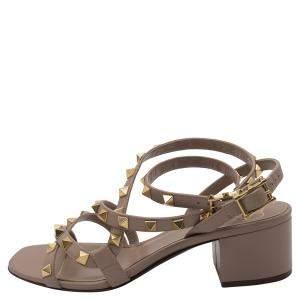 Valentino Rose Canelle Leather Rockstud Ankle Strap Block Heel Sandals Size 38