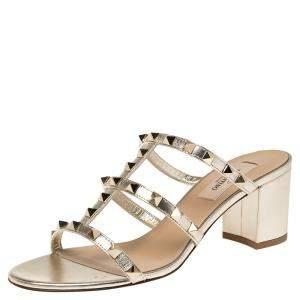 Valentino Metallic Gold Leather Rockstud Embellished Block Heel Sandals Size 37