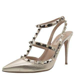 Valentino Metallic Gold Leather Rockstud Embellished Ankle Strap Sandals Size 38