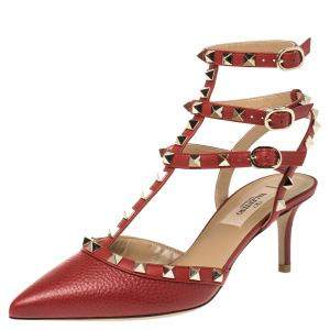 Valentino Red Leather Rockstud Embellished Pointed Toe Ankle Strap Sandals Size 37