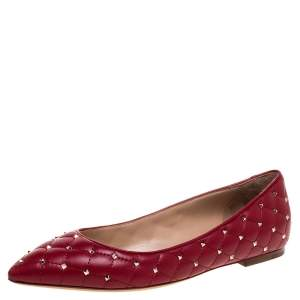 Valentino Red Quilted Leather Rockstud Spike Pointed Toe Ballet Flats Size 39