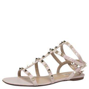 Valentino Water Rose Leather Rockstud Ankle Strap Flat Sandals Size 39