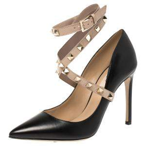 Valentino Black/Beige Leather Rockstud Ankle Wrap Pointed Toe Pumps Size 36.5