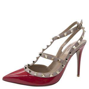 Valentino Red Patent Leather Rockstud Embellished Pointed Toe Sandals Size 38