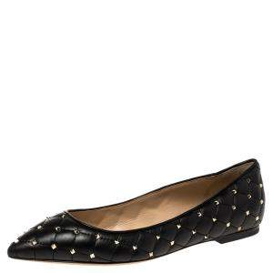 Valentino Black Leather Rockstud Embellished Pointed Toe Ballet Flats Size 37