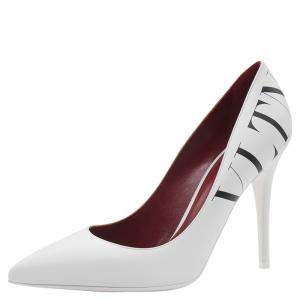 Valentino White Leather VLTN Pointed Toe Pumps Size 38
