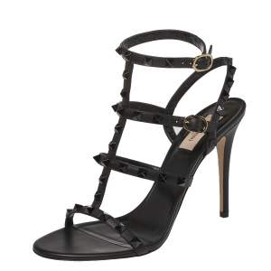 Valentino Black Leather Rockstud Embellished T Strap Sandals Size 39.5
