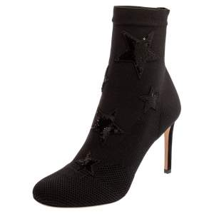 Valentino Black Stretch Knit Star Sequin Embellished Bodytech Ankle Boots Size 37