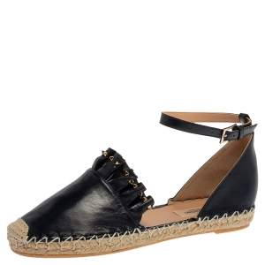 Valentino Marine Blue Nappa Leather Ruffle Ankle Strap Espadrilles Size 38