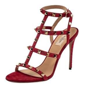Valentino Scarlet Red Suede Crystal Embellished Rockstud Ankle Strap Sandals Size 38.5