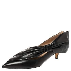 Valentino Black Leather Bow Detail Pointed Toe Pumps Size 40