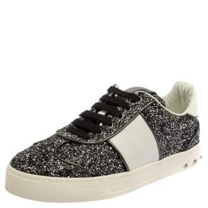 Valentino Black/White Glitter and Leather Fly Crew Low Top Sneakers Size 36