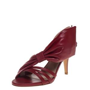 Valentino Red Leather Side Bow Slingback Sandals Size 38.5