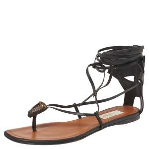 Valentino Black Leather Tribe Gladiator Ankle Wrap Sandals Size 39.5