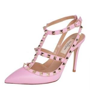 حذاء كعب عالى فالنتينو مقدمة مدببة روكستد جلد وردى مقاس 36.5