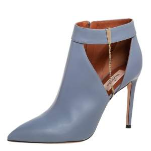 Valentino Blue Leather Cut Out Ankle Boots Size 39