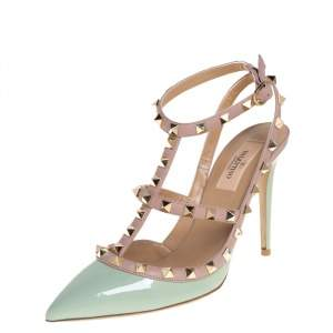 Valentino Pastel Green/Beige Patent Leather And Leather Rockstud Caged Ankle Strap Sandals Size 38