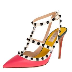 Valentino Multicolor Leather Black Rockstud Pointed Toe Ankle Strap Sandals Size 38