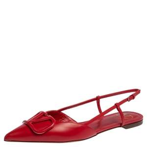 Valentino Red Leather VLogo Slingback Flat Sandals Size 38.5