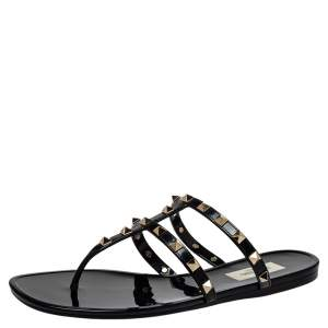 Valentino Black Patent Leather Rockstud Thong Sandals Size 39
