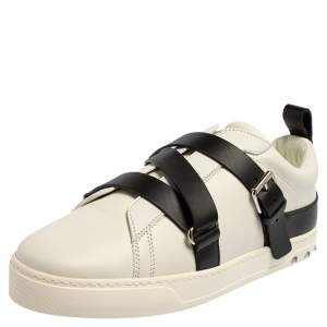 Valentino Garavani White/Black Leather Buckle Strap Rockstud Sneakers Size 40