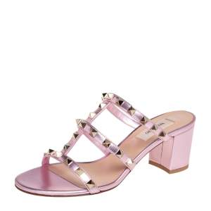 Valentino Metallic Rose Leather Rockstud Slide Sandals Size 37