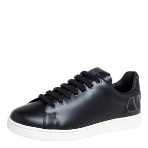 Valentino Black Leather V Logo Low Top Sneakers Size 39
