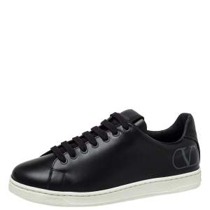 Valentino Black Leather VLogo Low Top Sneakers Size 39