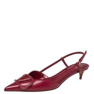Valentino Rasberry Leather Vlogo Slingback Sandals Size 37.5