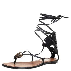 Valentino Black Leather Tribe Flat Thong Sandals Size 38
