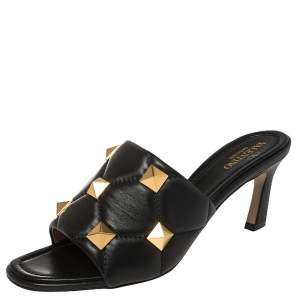 Valentino Black Quilted Leather Romanstud Mules Size 39