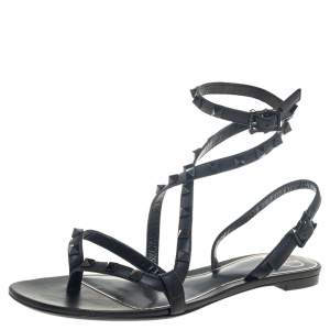 Valentino Black Leather Rockstud Ankle Wrap Flat Sandals 38.5