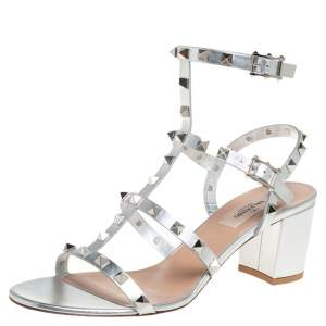 Valentino Silver Leather Rockstud Block Heel Cage Sandals Size 39