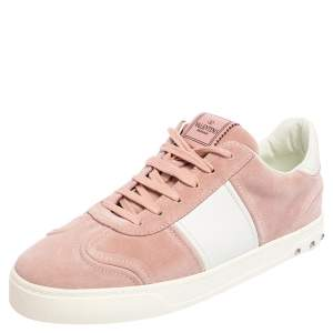 Valentino Light Pink/White Suede and Leather Fly Crew Low Top Sneakers Size 41