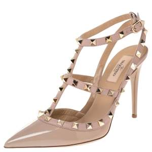 Valentino Beige Patent Leather Rockstud Pointed Toe Sandals Size 38.5